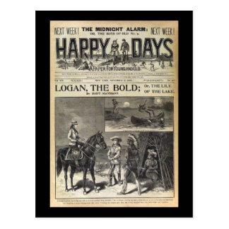 Dias felizes um papel para 1905 novo e velho cartão postal