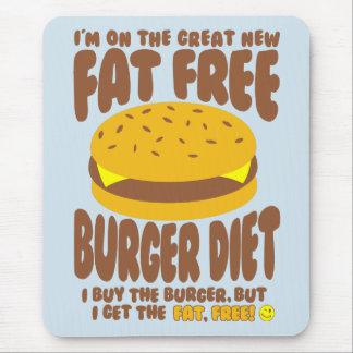 Dieta livre de gordura do hamburguer mouse pad