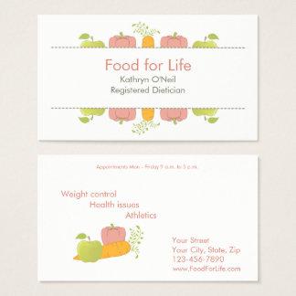 Dietista ou nutricionista profissional cartão de visitas