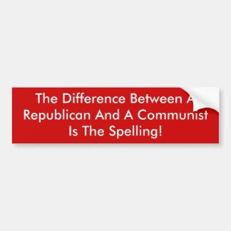 Diferença entre um republicano e um comunista adesivo para carro