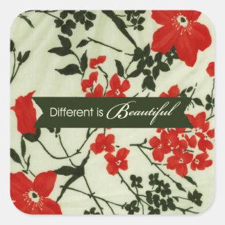 Diferente é o vintage bonito floral adesivo quadrado