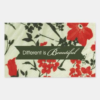 Diferente é o vintage bonito floral adesivo em formato retângular