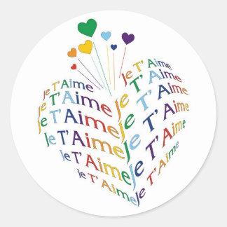 """Diga, """"eu te amo"""" em francês/etiqueta (o tamanho adesivo"""