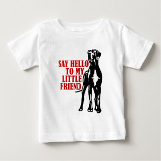 diga olá! a meu amigo pequeno camiseta para bebê