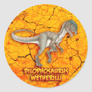 Dilophosaurus Adesivo Redondo