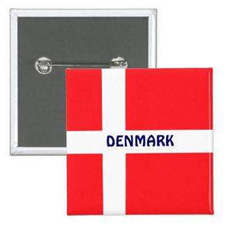 DINAMARCA: Bandeira de Dinamarca Bóton Quadrado 5.08cm
