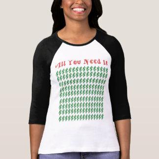Dinheiro contra o amor camiseta