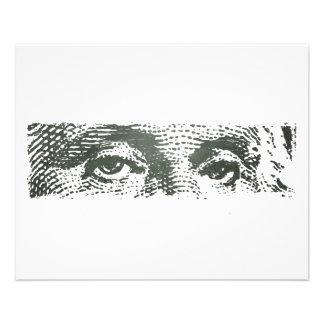 Dinheiro do dinheiro da nota de dólar de George Wa Panfletos Personalizados