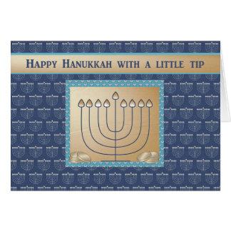 Dinheiro fechado, Menorah de Hanukkah com moedas Cartão