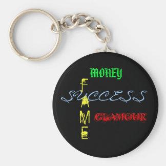 Dinheiro, sucesso, fama, encanto chaveiro