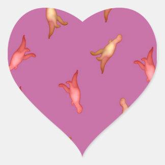 Dino cor-de-rosa adesivos em forma de corações
