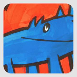 Dinossauro azul adesivos quadrados