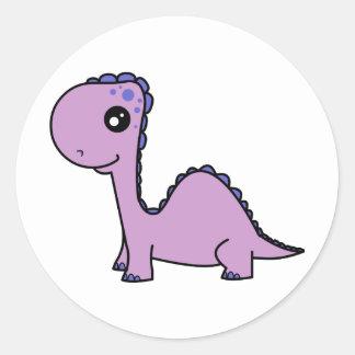 Dinossauro bonito do roxo do bebê adesivo em formato redondo