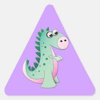 Dinossauro bonito dos desenhos animados adesivo triangular