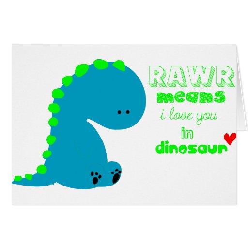 Dinossauro bonito RAWR Cartões