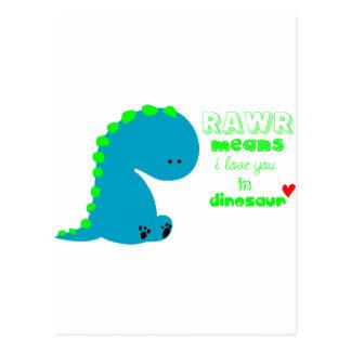 Dinossauro bonito RAWR Cartão Postal