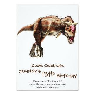 Dinossauro carnívoro impressionante do presente do convite 12.7 x 17.78cm