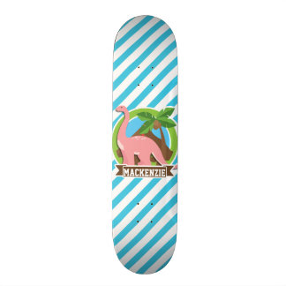 Dinossauro cor-de-rosa; Listras azuis & brancas Skate Boards