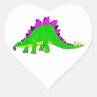 Dinossauro cor-de-rosa verde do Stegosaurus Adesivo Em Forma De Coração