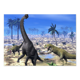 Dinossauro de ataque do brachiosaurus do convite 12.7 x 17.78cm