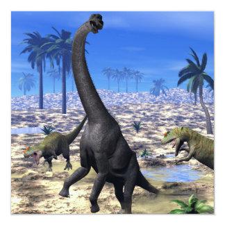 Dinossauro de ataque do brachiosaurus do convite quadrado 13.35 x 13.35cm