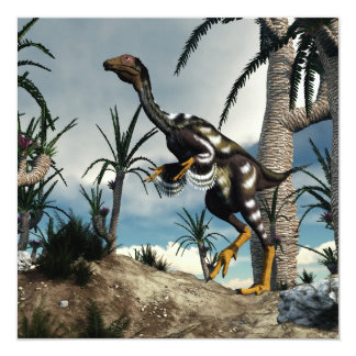 Dinossauro de Caudipteryx - 3D rendem Convite Quadrado 13.35 X 13.35cm