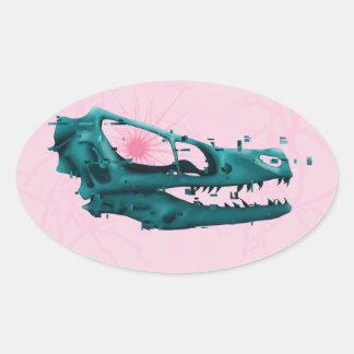 Dinossauro de Glitched Adesivo Oval