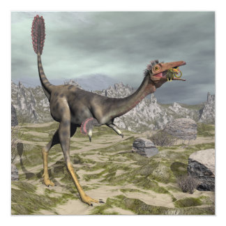 Dinossauro de Mononykus no deserto - 3D rendem Convite Quadrado 13.35 X 13.35cm