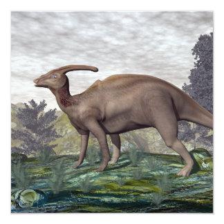 Dinossauro de Parasaurolophus - 3D rendem Convite Quadrado 13.35 X 13.35cm