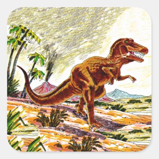 Dinossauro de Rex do tiranossauro Adesivo Em Forma Quadrada