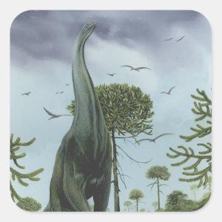 Dinossauro de Sauroposeidon do vintage com voo dos Adesivo Quadrado