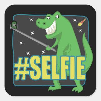 # dinossauro de SELFIE T-Rex Adesivo Quadrado