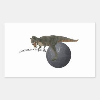 Dinossauro de T-Rex que destrói a bola Adesivos Retangulares