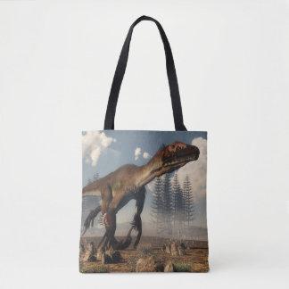 Dinossauro de Utahraptor no deserto - 3D rendem Bolsa Tote
