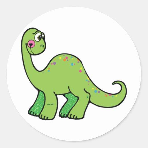 Dinossauro delicioso adesivo em formato redondo