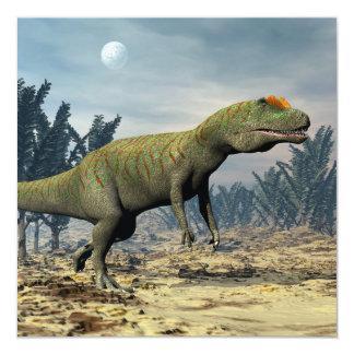 Dinossauro do Allosaurus - 3D rendem Convite Quadrado 13.35 X 13.35cm