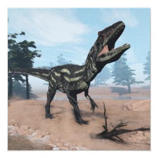 Dinossauro do Allosaurus que ruje - 3D rendem Convite Quadrado 13.35 X 13.35cm
