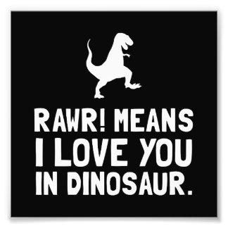Dinossauro do amor de Rawr Impressão De Foto