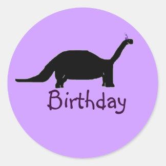 Dinossauro do aniversário adesivo em formato redondo