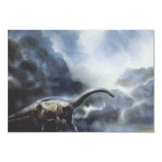 Dinossauro do Barapasaurus do vintage com nuvens Convite 8.89 X 12.7cm