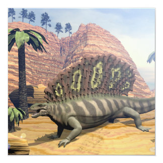 Dinossauro do Edaphosaurus - 3D rendem Convite Quadrado 13.35 X 13.35cm