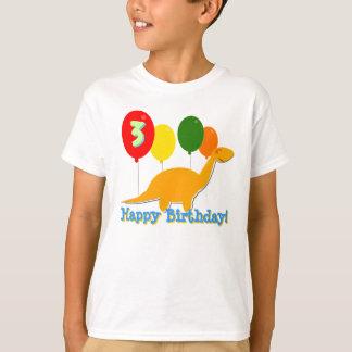 Dinossauro do feliz aniversario 3 anos de t-shirt camiseta