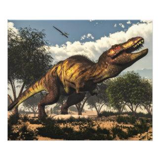 Dinossauro do rex do tiranossauro e seus ovos impressão de foto