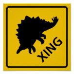 Dinossauro do sinal da estrada do cruzamento de St Posters