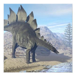 Dinossauro do Stegosaurus - 3D rendem Convite Quadrado 13.35 X 13.35cm
