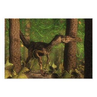 Dinossauro do Velociraptor na floresta Impressão De Foto