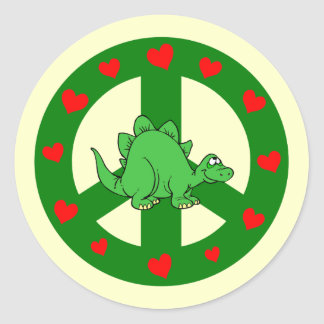 dinossauro dos corações da paz adesivo redondo