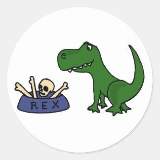 Dinossauro e crânio engraçados XY de T-Rex na Adesivo Em Formato Redondo