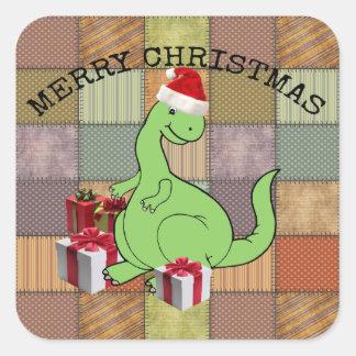 Dinossauro engraçado bonito alegre adorável do adesivo quadrado