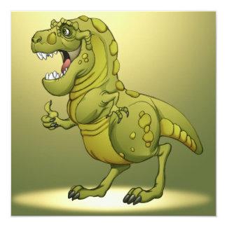 Dinossauro feliz dos desenhos animados que dá os convite quadrado 13.35 x 13.35cm